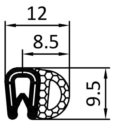 PVC-Kantenschutzdichtprofil mit seitlichem Moosgummischlauch